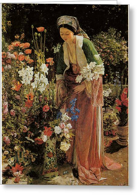 Bey Greeting Cards - In the Beys Garden Greeting Card by John Frederick Lewis