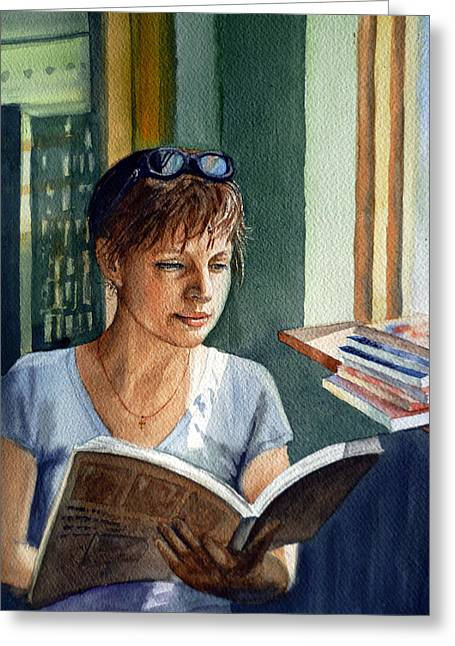 In The Book Store Greeting Card by Irina Sztukowski