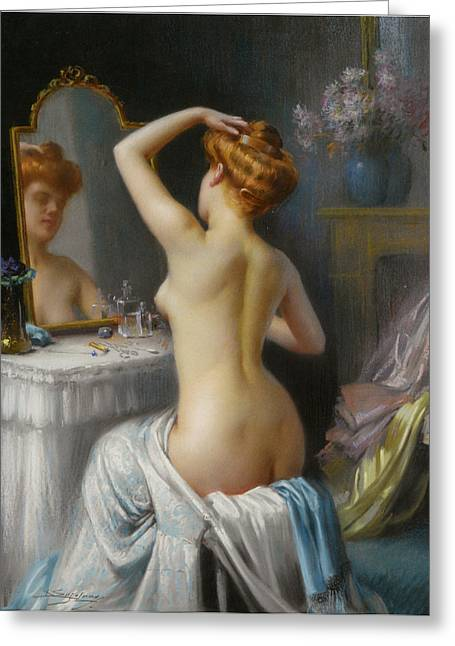 Man In The Mirror Greeting Cards - In The Boudoir Greeting Card by Delphin Enjolras