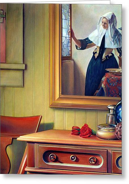 In The Boudoir With Vermeer Greeting Card by Patrick Anthony Pierson