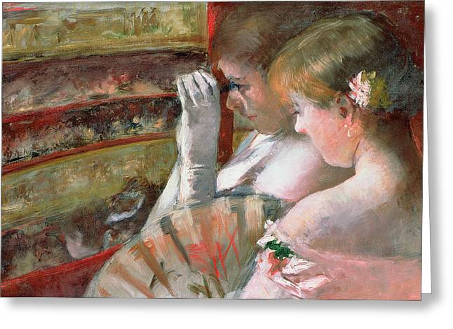 Opera Gloves Paintings Greeting Cards - In the Box Greeting Card by Mary Stevenson Cassatt