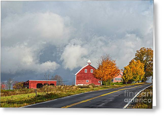 Old Maine Barns Greeting Cards - In the Clouds Greeting Card by Alana Ranney