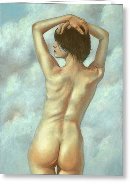 Burlesque Paintings Greeting Cards - In the clouds Greeting Card by John Silver