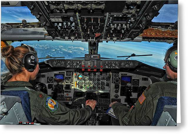Kc Greeting Cards - In the Cockpit of a KC-135 Statotanker  Greeting Card by Mountain Dreams