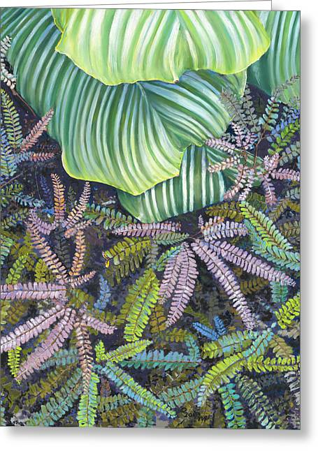 Birdseye Greeting Cards - In the Conservatory - 4th Center - Green Greeting Card by Nick Payne
