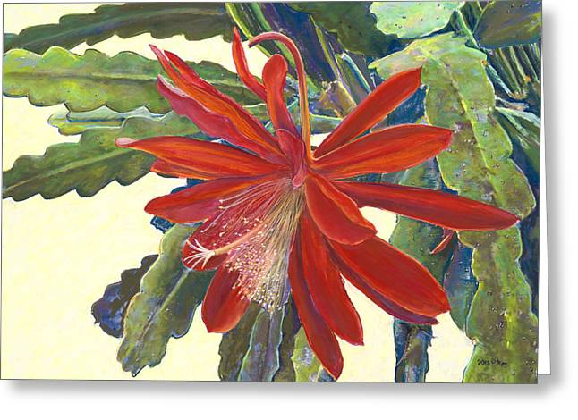 Birdseye Art Studio Greeting Cards - In the Conservatory - 1st Center - Red Greeting Card by Nick Payne