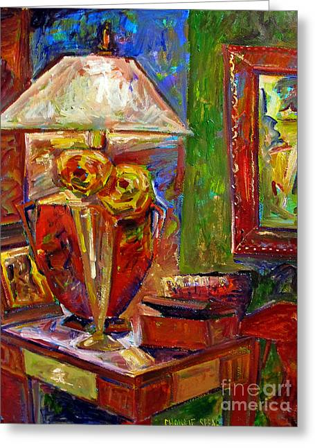 Indoor Still Life Paintings Greeting Cards - In the Corner of My Studio Greeting Card by Charlie Spear