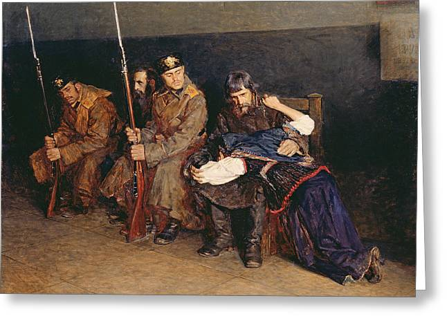 Guard Greeting Cards - In The Corridor Of The District Court, 1897 Oil On Canvas Greeting Card by Nikolaj Alekseevich Kasatkin