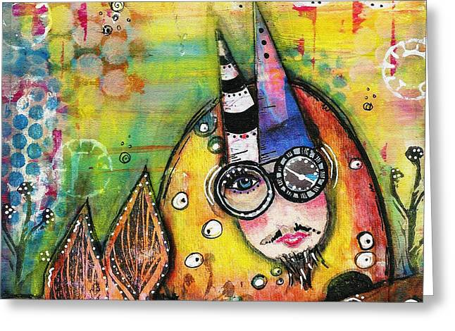 Quirky Mixed Media Greeting Cards - In the Deep Greeting Card by Sharon Parcel
