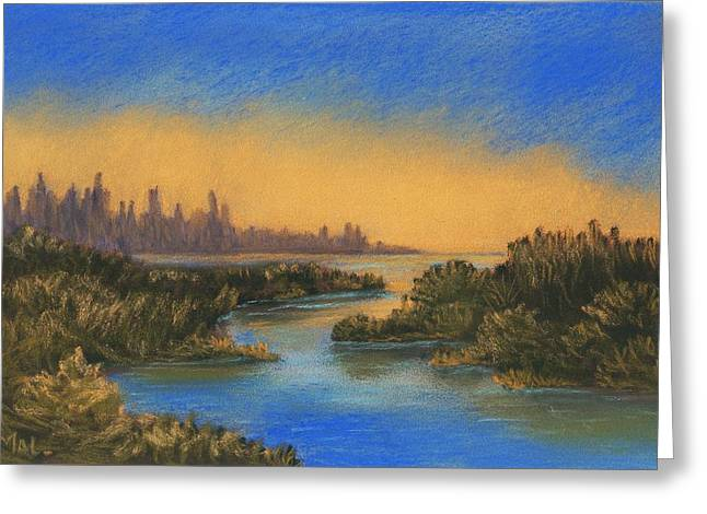 Surreal Landscape Pastels Greeting Cards - In the Distance Greeting Card by Anastasiya Malakhova