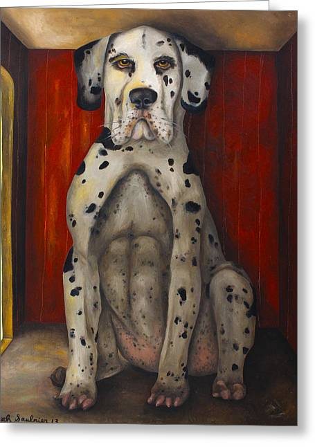 Harlequin Great Dane Puppies Greeting Cards - In The Dog House edit 3 Greeting Card by Leah Saulnier The Painting Maniac