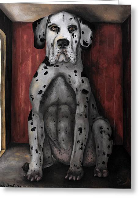Harlequin Great Dane Puppies Greeting Cards - In The Dog House edit 4 Greeting Card by Leah Saulnier The Painting Maniac