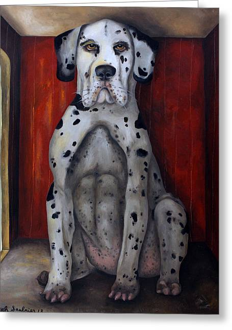 Dog House Greeting Cards - In The Dog House Greeting Card by Leah Saulnier The Painting Maniac