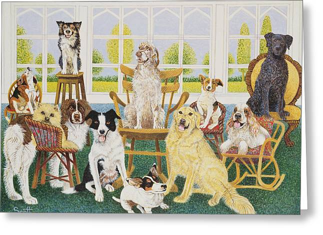 Spaniel Greeting Cards - In The Dog House Greeting Card by Pat Scott