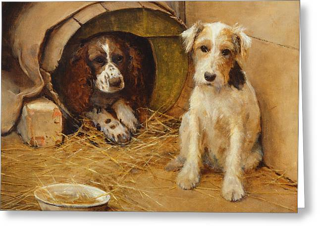 Puppies Greeting Cards - In the Dog House Greeting Card by Samuel Fulton