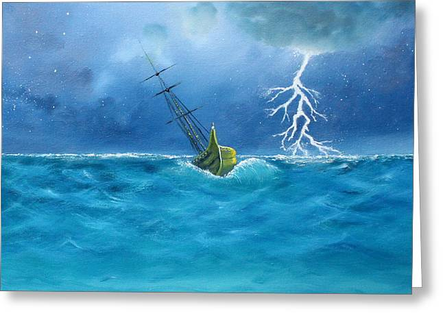 Recently Sold -  - Ocean Sailing Greeting Cards - Ship in Stormy Seas Greeting Card by Toni Yasger