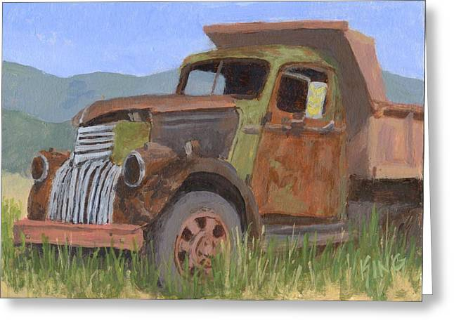 Dump Truck Greeting Cards - In the Dumps Greeting Card by David King