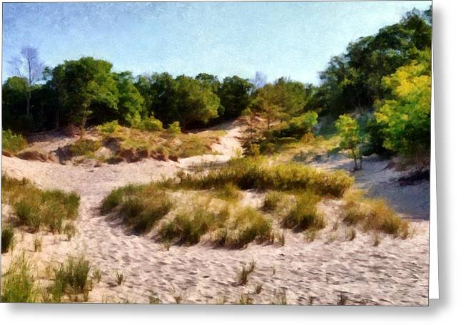 Seaside Digital Greeting Cards - In the Dunes Greeting Card by Michelle Calkins