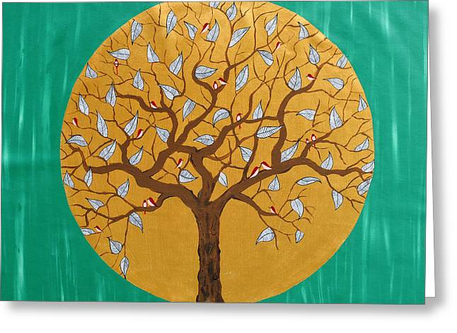 Tree Roots Paintings Greeting Cards - In the emerald forest Greeting Card by Sumit Mehndiratta
