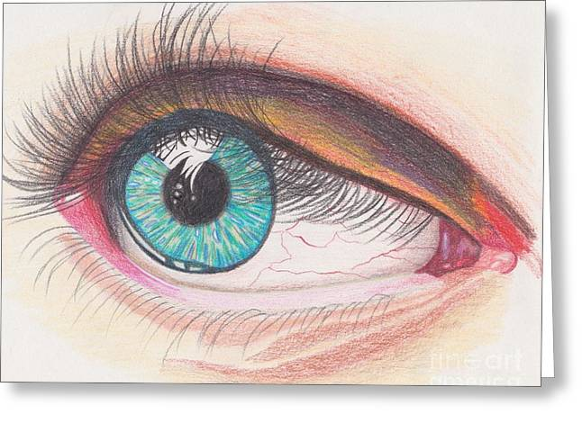 Veins Drawings Greeting Cards - In The Eye Greeting Card by Natalie Rogers