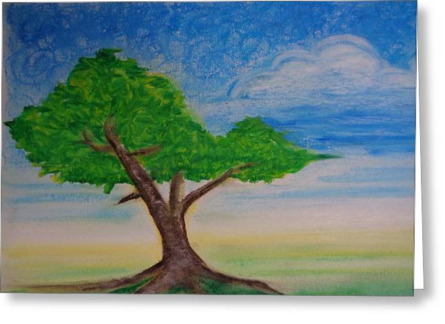 Tree Roots Pastels Greeting Cards - In The Field Greeting Card by Louis Noonburg