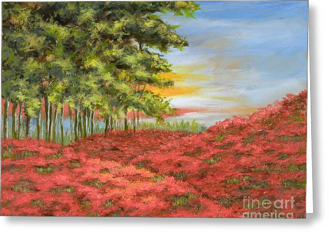 Mo Artist Paintings Greeting Cards - In the Field of Poppies Greeting Card by Vic  Mastis