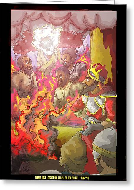 Book Of Daniel Greeting Cards - In the fire Shadrach Meshach and Abednego Greeting Card by Ronnell Williams