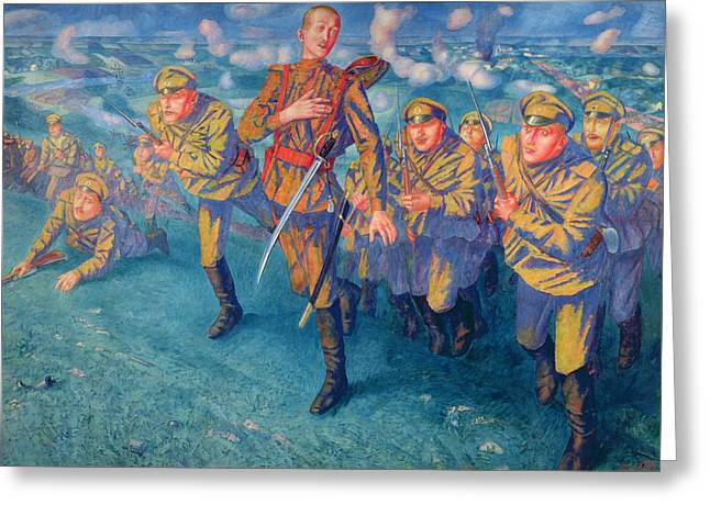 Wwi Greeting Cards - In The Firing Line, 1916 Oil On Canvas Greeting Card by Kuzma Sergeevich Petrov-Vodkin