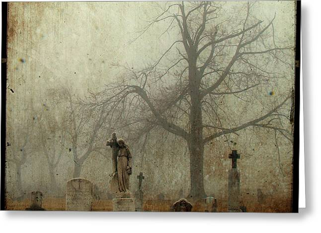 Border Greeting Cards - In the fog - you can see her Greeting Card by Gothicolors Donna Snyder