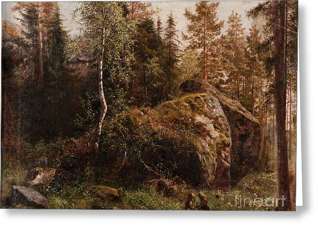 1901 Greeting Cards - In The Forest Greeting Card by Celestial Images