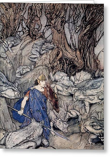 Bravery Greeting Cards - In the forked glen into which he slipped at night-fall he was surrounded by giant toads Greeting Card by Arthur Rackham