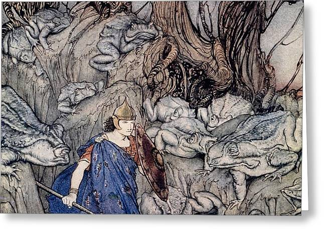 In the forked glen into which he slipped at night-fall he was surrounded by giant toads Greeting Card by Arthur Rackham