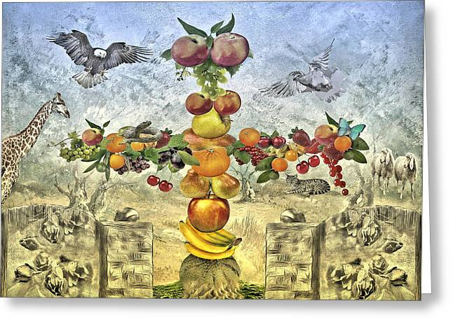 Fruit Tree Art Greeting Cards - In the Garde of Eden Greeting Card by Manfred Lutzius