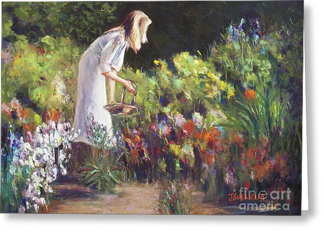 Picking Pastels Greeting Cards - In the Gardem Greeting Card by Joyce A Guariglia