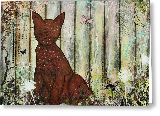 Janelle Nichol Greeting Cards - In The Garden Abstract Folk art painting of a Cat Greeting Card by Janelle Nichol