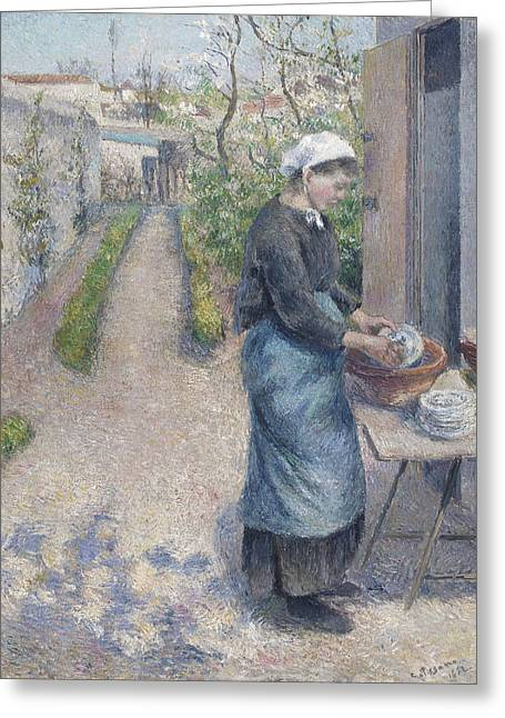 Washing Greeting Cards - In The Garden At Pontoise A Young Woman Greeting Card by Camille Pissarro