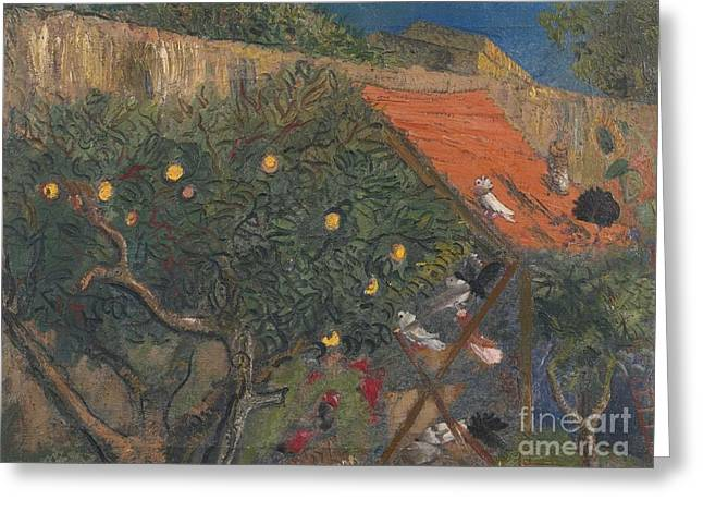 Orthodox Paintings Greeting Cards - In The Garden Greeting Card by Celestial Images