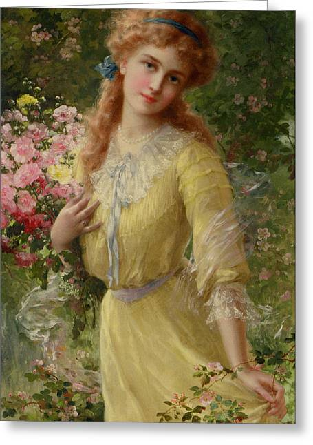 In The Garden Greeting Card by Emile Vernon