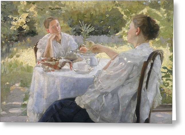 Concerned Greeting Cards - In the Garden Greeting Card by Lukjan Vasilievich Popov