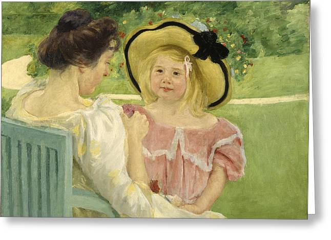 Cassatt Greeting Cards - In The Garden Greeting Card by Celestial Images