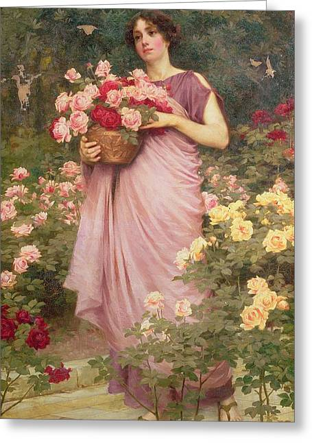 Gathering Greeting Cards - In The Garden Of Roses Greeting Card by Richard Willes Maddox