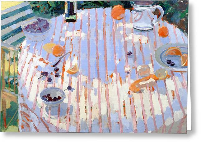 Close Up Paintings Greeting Cards - In the Garden Table with Oranges  Greeting Card by Sarah Butterfield