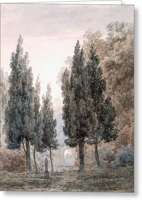 Garden Drawings Greeting Cards - In The Gardens Of The Villa Pamfili Greeting Card by John Robert Cozens