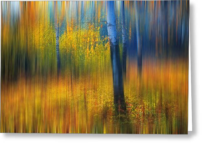 Secret Gardens Greeting Cards - In the Golden Woods. Impressionism Greeting Card by Jenny Rainbow