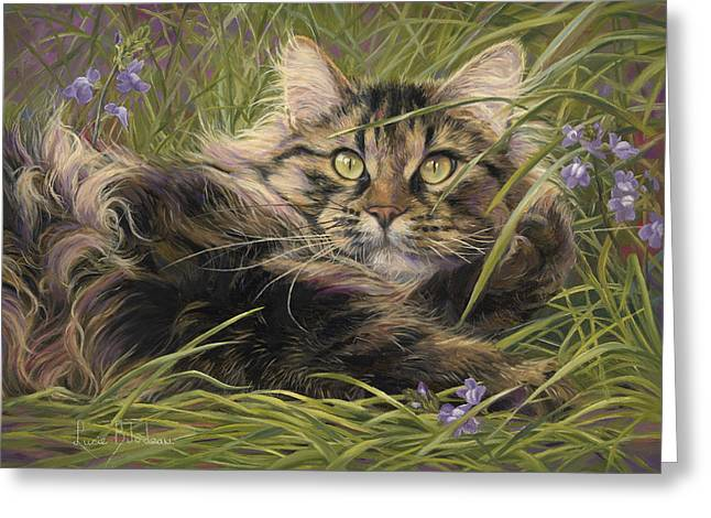 Orange Tabby Paintings Greeting Cards - In The Grass Greeting Card by Lucie Bilodeau