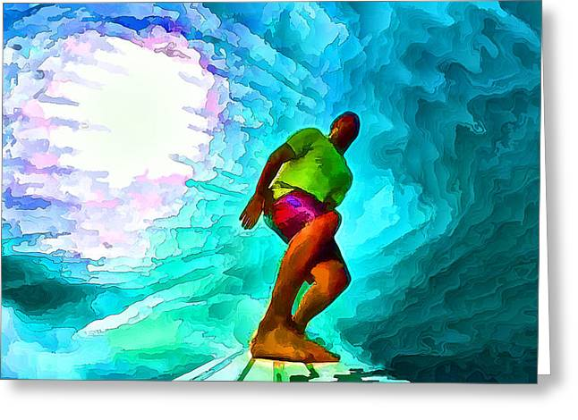 Surfing Art Greeting Cards - In the Green Room with Go Pro Greeting Card by Bill Caldwell -        ABeautifulSky Photography
