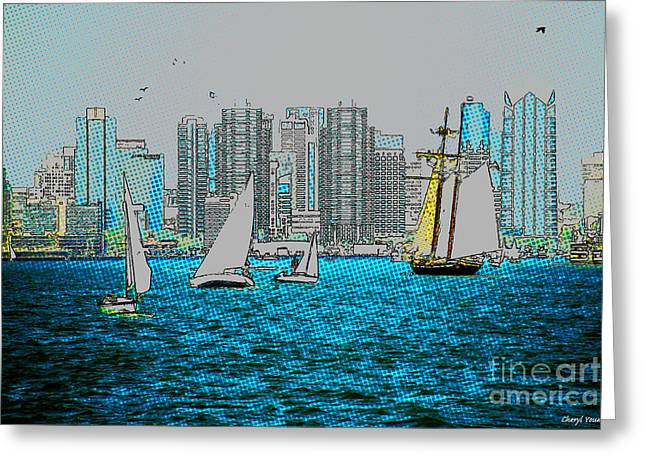 San Diego Harbor Greeting Cards - In The Harbor Greeting Card by Cheryl Young