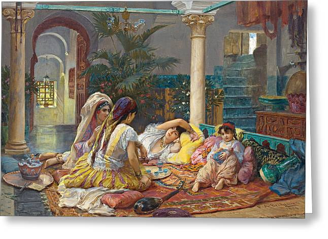 Frederick Greeting Cards - In the Harem Greeting Card by Frederick Arthur Bridgman