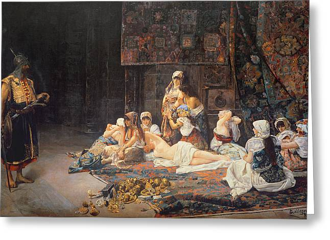 Harem Paintings Greeting Cards - In the Harem Greeting Card by Jose Gallegos Arnosa