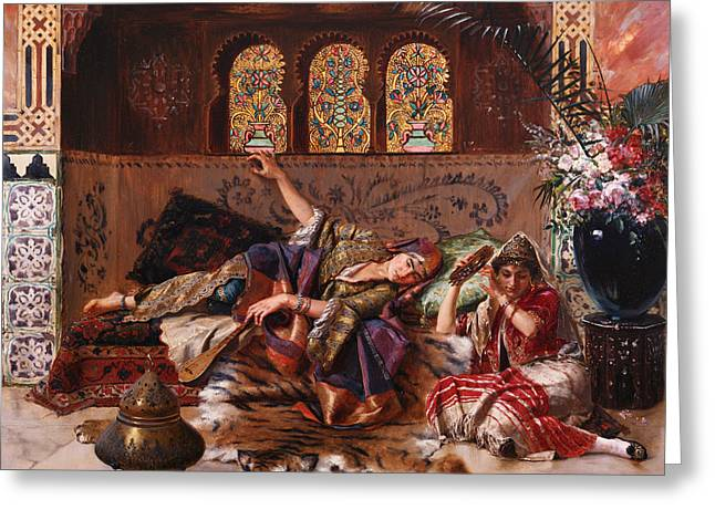 Lounge Paintings Greeting Cards - In the Harem Greeting Card by Rudolphe Ernst